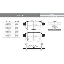 Колодки тормозные дисковые задние, комплект (Goodwill) 2035R