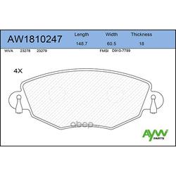 Колодки тормозные передние (AYWIparts) AW1810247