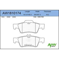 Колодки тормозные задние (AYWIparts) AW1810174