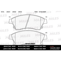 "MILES Колодки тормозные CHEVROLET CRUZE/OPEL ASTRA J 15"" 10- передние (Miles) E100013"