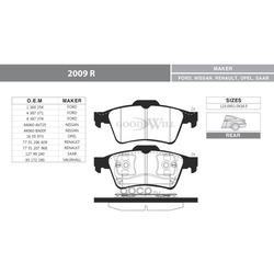 Колодки тормозные дисковые задние, комплект (Goodwill) 2009R