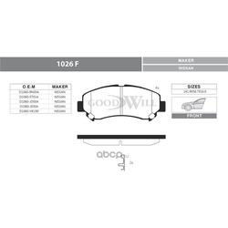 Колодки тормозные дисковые передние, комплект (Goodwill) 1026F