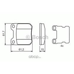 Комплект тормозных колодок, дисковый тормоз (Bosch) 0986490500