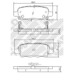 Комплект тормозных колодок, дисковый тормоз (Mapco) 6754
