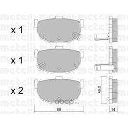 Комплект тормозных колодок, дисковый тормоз (Metelli) 2203620