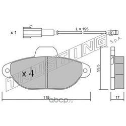 Комплект тормозных колодок, дисковый тормоз (Trusting) 1622