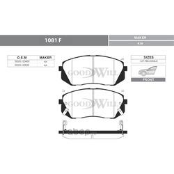 Колодки тормозные дисковые передние, комплект (Goodwill) 1081F