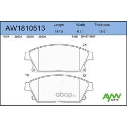 Колодки тормозные передние (AYWIparts) AW1810513