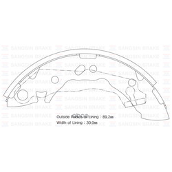 Колодки тормозные задние барабанные ELANTRA/LANTRA/MATRIX (Sangsin brake) SA062