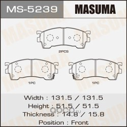 Колодки тормозные (Masuma) MS5239