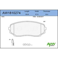 Колодки тормозные передние (AYWIparts) AW1810274
