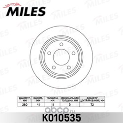 Диск тормозной MAZDA 3 2.0-2.3 03-/5 1.6-2.0 05- задний (Miles) K010535