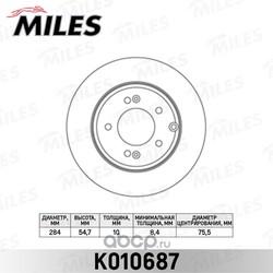 Диск тормозной HYUNDAI SONATA NF 05- задний D=284мм. (Miles) K010687