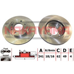 Тормозной диск передний (вент.) HYUNDAI I10 07-, K (NAKAYAMA) Q4940