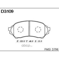 Колодки тормозные дисковые, комплект (Kashiyama) D3109