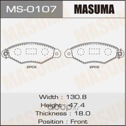 Колодки тормозные (Masuma) MS0107