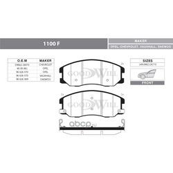 Колодки тормозные дисковые передние, комплект (Goodwill) 1100F