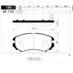 КОЛОДКИ ТОРМОЗНЫЕ ПЕРЕДНИЕ (Sangsin brake) SP1155