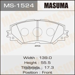 Колодки тормозные (Masuma) MS1524