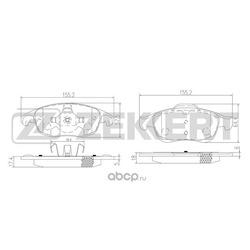 Колодки тормозные дисковые перед. Citroen Berlingo (MF B9) 05- C4 II 11- C4 Pica (Zekkert) BS1254