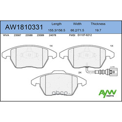 Колодки тормозные передние (AYWIparts) AW1810331
