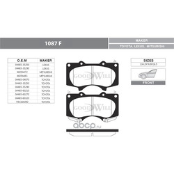 Колодки тормозные дисковые передние, комплект (Goodwill) 1087F
