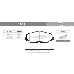 Колодки тормозные дисковые передние, комплект (Goodwill) 1034F