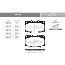 Колодки тормозные дисковые передние, комплект (Goodwill) 1004F