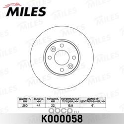 Диск тормозной NISSAN MICRA 03-/NOTE 06-/RENAULT MEGANE 03-/CLIO 05- перед.вент. (Miles) K000058
