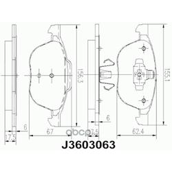 Комплект тормозных колодок, дисковый тормоз (Nipparts) J3603063