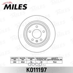 Диск тормозной CHEVROLET CRUZE/ORLANDO/OPEL ASTRA J R16 09- задний D=292мм. (Miles) K011197