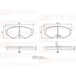 Комплект тормозных колодок, дисковый тормоз (UBS) B1105031