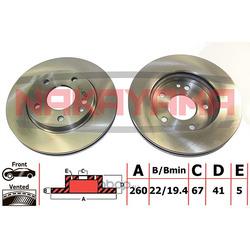 Диск тормозной передний, вентилируемый (NAKAYAMA) Q5085