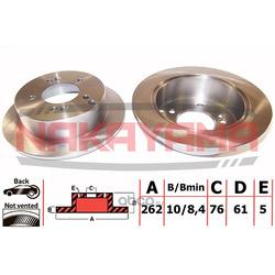 Торм. диск задний не вент. Hyundai Sonata NF 05- ( (NAKAYAMA) Q4684