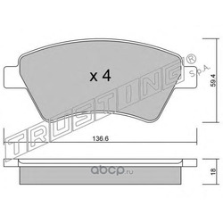 Комплект тормозных колодок, дисковый тормоз (Trusting) 5600