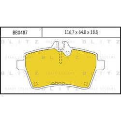 Колодки тормозные, комплект, передние (Blitz) BB0487