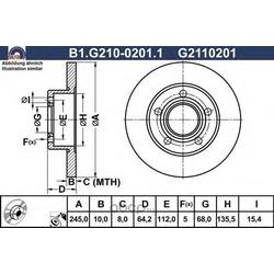 Тормозной диск (GALFER) B1G21002011
