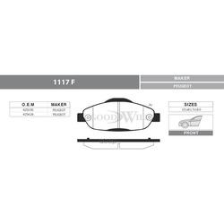 Колодки тормозные дисковые передние, комплект (Goodwill) 1117F