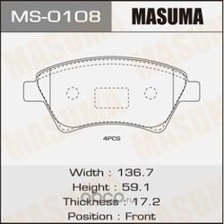 Колодки тормозные (Masuma) MS0108