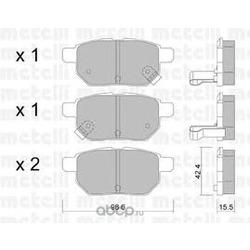 Комплект тормозных колодок, дисковый тормоз (Metelli) 2207460