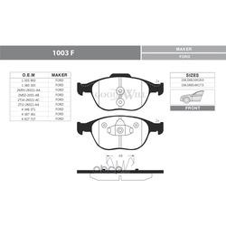 Колодки тормозные дисковые передние, комплект (Goodwill) 1003F