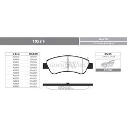 Колодки тормозные дисковые передние, комплект (Goodwill) 1052F