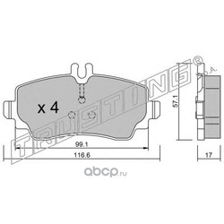 Комплект тормозных колодок, дисковый тормоз (Trusting) 3190