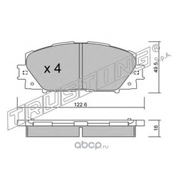 Комплект тормозных колодок, дисковый тормоз (Trusting) 7611