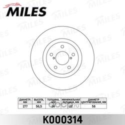 Диск тормозной SUBARU FORESTER 97-/IMPREZA 94-/LEGACY 03- передний вент. (Miles) K000314