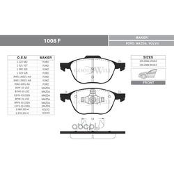 Комплект тормозных колодок, дисковый тормоз (Goodwill) 1008F
