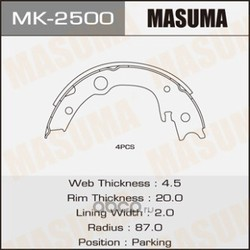 Колодки тормозные (Masuma) MK2500