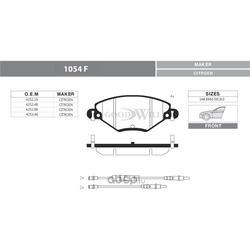 Колодки тормозные дисковые передние, комплект (Goodwill) 1054F