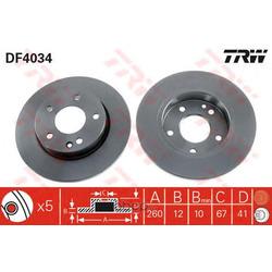 Диск тормозной передний (TRW/Lucas) DF4034