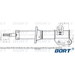 Стойка амортизационная газомасляная передняя левая (BORT) G21845012L